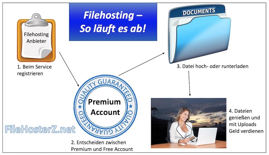 Infografik zur Nutzung von Filehosting Diensten auf weißem Hintergrund