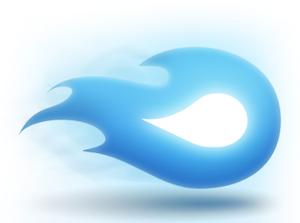 Logo von Mediafire, blaues Feuer mit weißem Kern