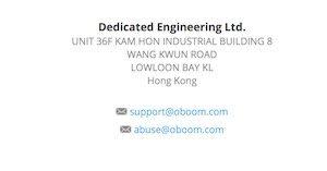 Anschrift der Firma Oboom.com in schwarzer Schrift auf weißem Hintergrund