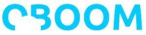 weißes logo, oboom in blauer Schrift